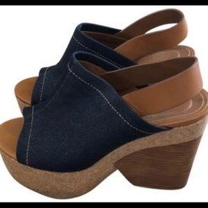 See by Chloé Denim & Cork with Wood Wedge Heel